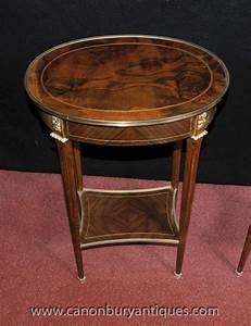 pair french empire oval side tables cocktail accent table With oval coffee table and end tables