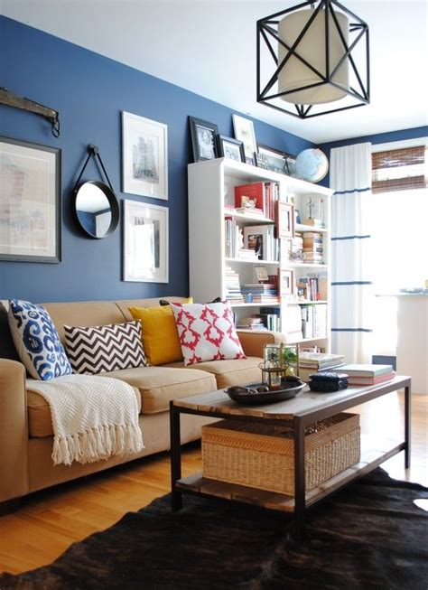 unique blue  white living room design ideas