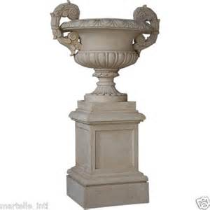 classic large sand cast outdoor urn planter on