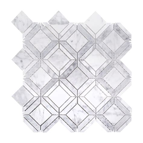 Marble Mosaic Tile by Jeff Lewis Carlyle Carrara 11 1 8 In X 11 1 8 In X 8 Mm