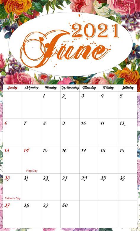floral june  calendar printable  printable