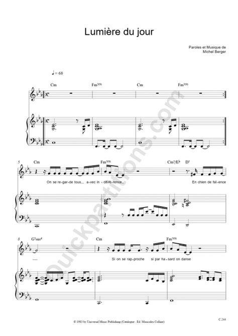 lumi 232 re du jour piano sheet michel berger digital sheet