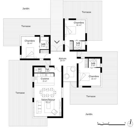 plan plain pied 3 chambres plan maison contemporaine 120 m ooreka
