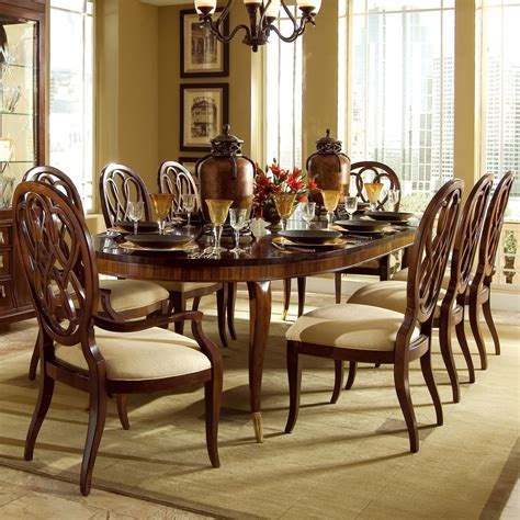 american drew bob mackie signature 9 pc oval dining table