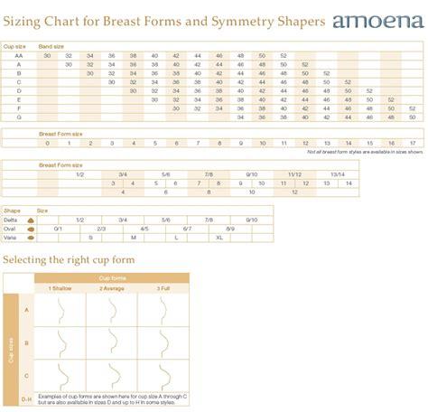 amoena breast forms size chart amoena sizing charts
