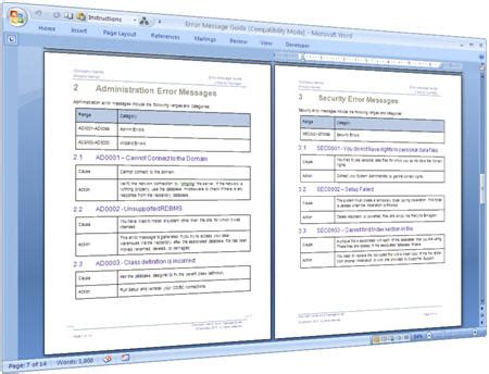 technical documentation template error message guide template ms word