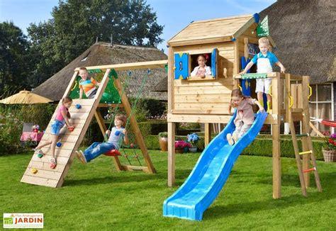 chaise bain de soleil aire de jeux jungle playhouse l bois toboggan balançoire escalade jungle