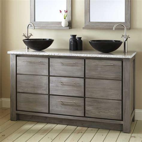 kitchen faucets modern 60 quot venica teak vessel sink vanity gray wash