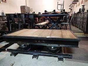 Table Basse Bois Industriel : table basse industrielle wagon ancien fer bois geonancy design ~ Teatrodelosmanantiales.com Idées de Décoration
