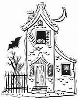 Haunted Halloween Coloring 保存 Printactivities Houses Spooky sketch template