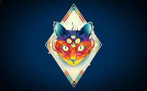 abstract fox illustration art desktop wallpaper