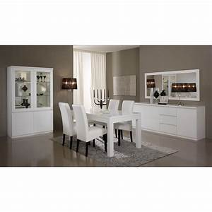 salle a manger vitrine 2 portes blanche laque comforium With meuble de salle a manger avec salle a manger entiere