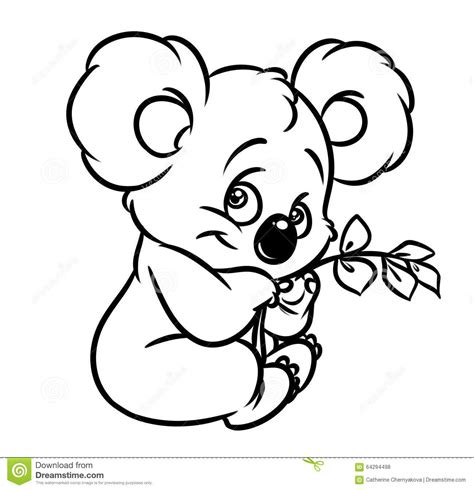 Kleurplaat Koala by Koala Eucalyptus Leaves Coloring Page Stock Illustration