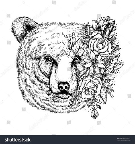 sketchy bear portrait flowers animal abstract stock vector