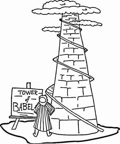 Babel Tower Coloring Pages Drawing Printable Bible