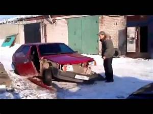 Russian CAR FAIL - One kick and the car crumbles - wreck ...