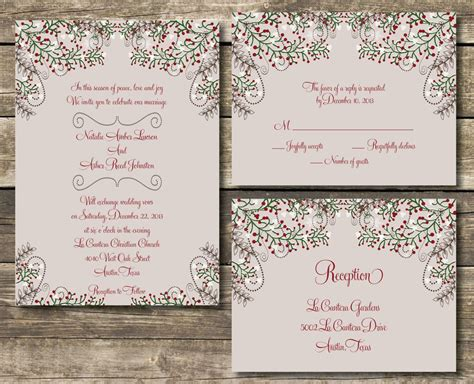 printable wedding invitation suite diy winter