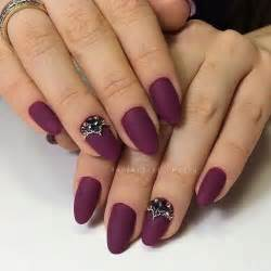 Cool matte rhinestones manicure nail art idea