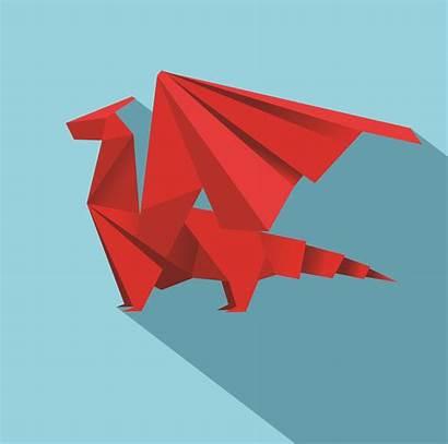 Dragon Geometric Origami Vector