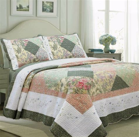Quilted Coverlet by Forest 100 Cotton Quilt Set Bedspread Coverlet Ebay