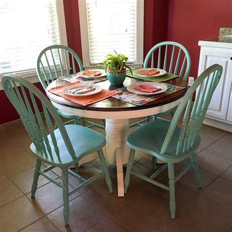 turquoise  white kitchen table