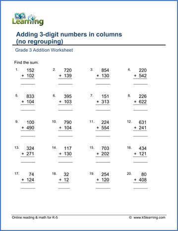 3rd grade math adding worksheet grade 3 addition worksheets free printable k5 learning