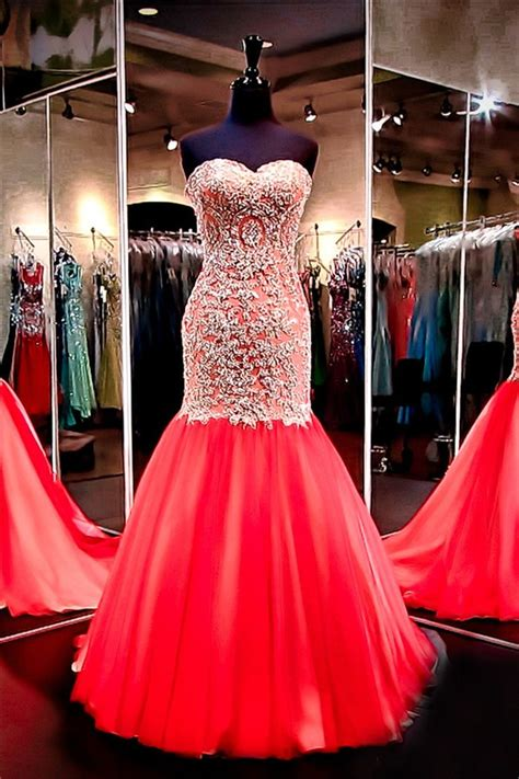 mermaid sweetheart red tulle gold lace applique beaded
