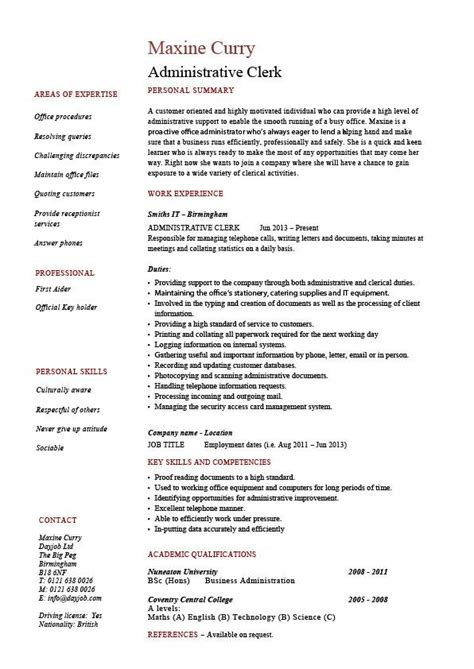 resume for office work in school administrative clerk resume clerical sle template