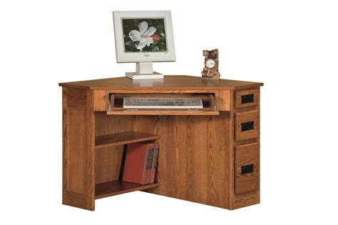 corner desk with drawers amish arts and crafts corner computer desk with side drawers