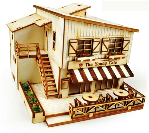 cafe house wooden model kit ho scales  wood miniature