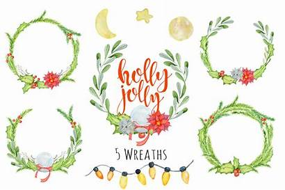 Holly Christmas Watercolor Jolly Clipart Floral Thehungryjpeg