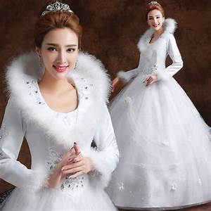 long sleeves white winter wedding dress with faux fur With fur wedding dress