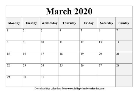 march  printable calendar blank templates