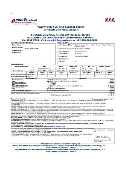 vehicle insurance policy file vehicle insurance certificate in india pdf