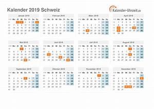 Feiertage 2019 Schweiz Kalender & Übersicht