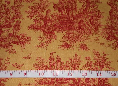 Yellow And Red Toile Home Decor Fabric