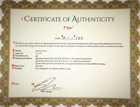 Limited Edition Print Certificate Of Authenticity Template by Limited Edition Print Certificate Of Authenticity Template