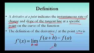 Derivative At A Point  Formal Definition