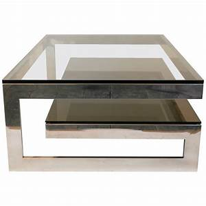 cantilevered 39g39 mirror chrome coffee table with smoke With chrome mirror coffee table