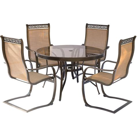 hanover monaco 5 aluminum outdoor dining set with