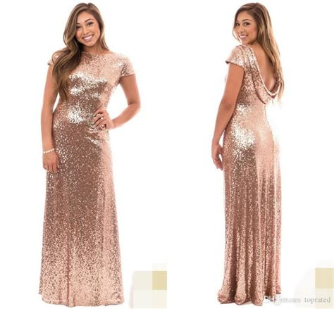 Rose Gold Plus Size Long Bridesmaid Dresses With Short Sleeve Ruffles Open Back 2017 Wedding ...