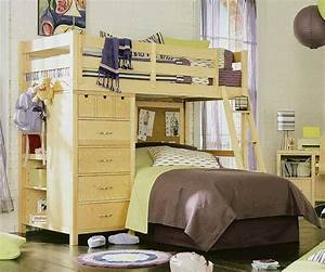 Twin, Kids, Loft, Bed, With, Desk, With, Shelves
