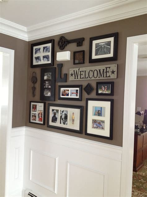 Living Room Decorating Ideas Picture Frames by Picture Collage For Front Entry And Impressive Wainscoting