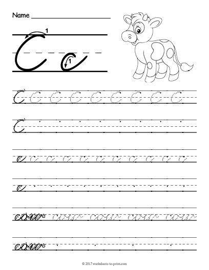 Free Printable Cursive C Worksheet  Cursive Writing Worksheets  Cursive, Handwriting