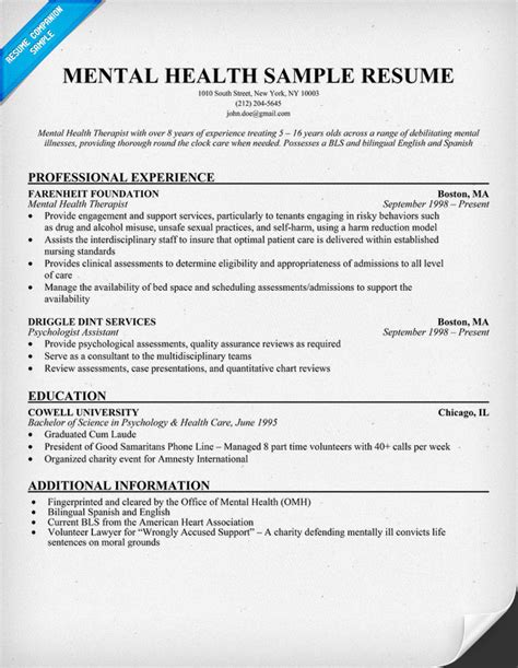 Behavioral Health Paraprofessional Description For Resume by Exle Resume Mental Health Resume Exle