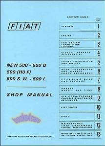 Fiat 500 Shop Manual Book Service Repair Abarth Topolino
