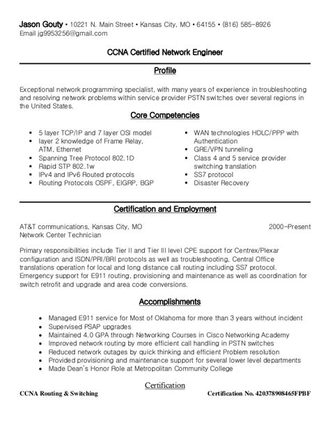 ccna routing and switching resume