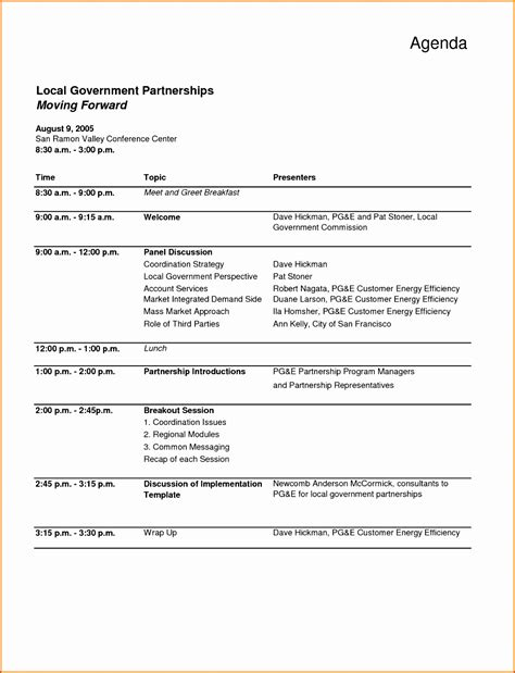meeting agenda template excel exceltemplates