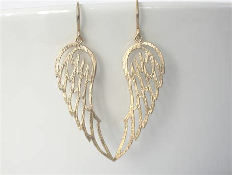 Super Cool Golden Angel Wing Earrings, So Angelic! Felt