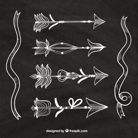 pack  hand drawn arrows  feathers vector